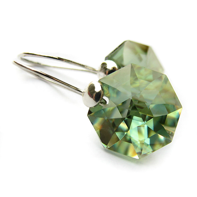 Kolczyki Swarovski Antique Green Octagon