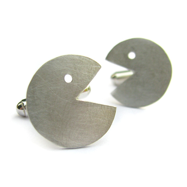 Srebrne spinki do mankietów Packman